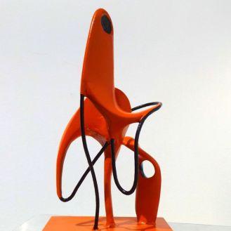 Orange.Q | mixed media | painted bondo and aluminum wire